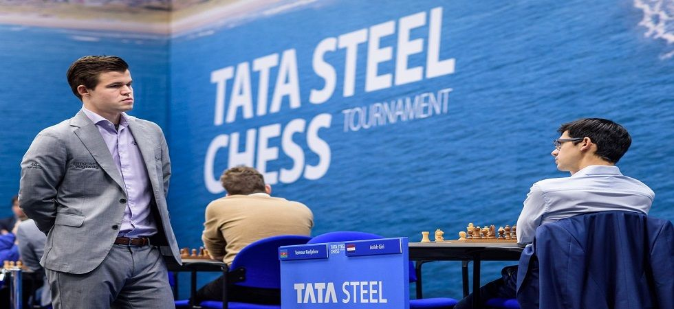 Magnus Carlsen will play Anish Giri in the final round of the Tata Steel Championship and a win or draw will give him the title. (Image credit: Alina l'Ami Twitter)