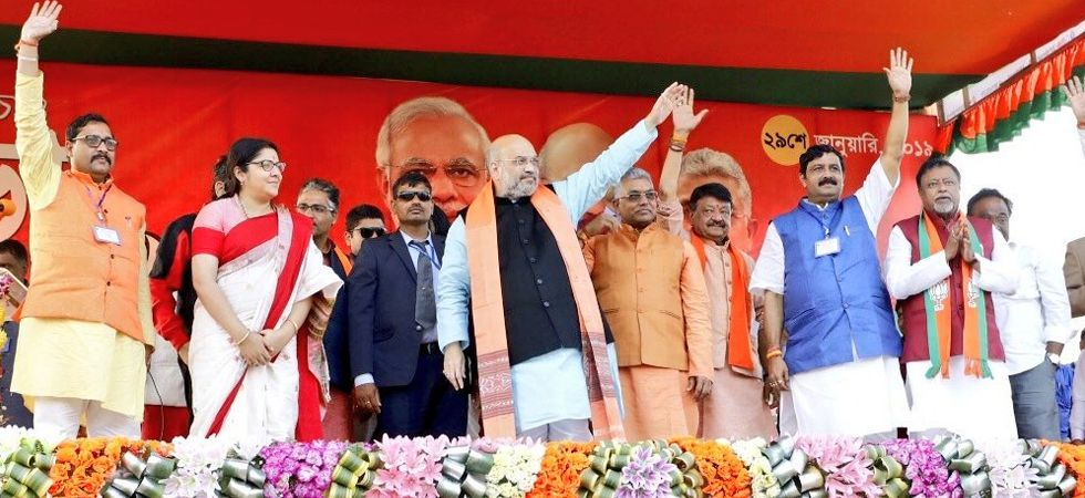 Amit Shah addresses a rally in West Bengal's East Midnapore. (Image twitter by Amit Shah)