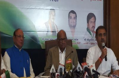 Shankersinh Vaghela joins Nationalist Congress Party in presence of party chief Sharad Pawar