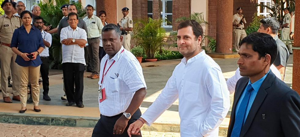 Congress chief Rahul Gandhi visits Manohar Parrikar in Goa (PTI Photo)