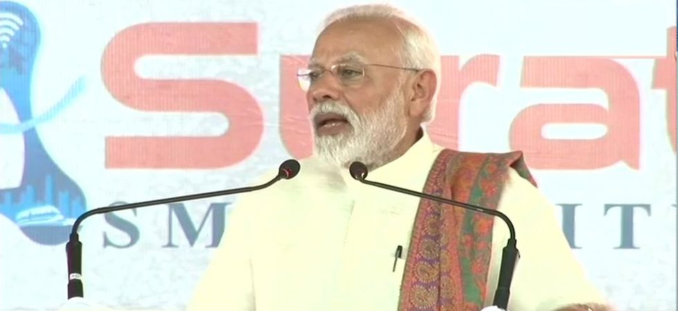 Prime Minister Narendra Modi addressing rally at Surat