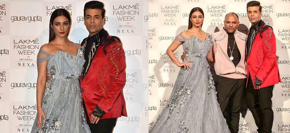 Bollywood stars Tabu and Karan Johar walked the ramp for Gaurav Gupta. Image: Instagram