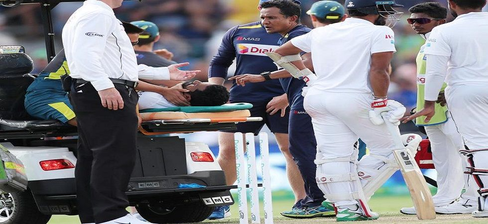 Dimuth Karunaratne was taken to hospital after being hit by a bouncer from Pat Cummins in the Canberra Test. (Image credit: Twitter)
