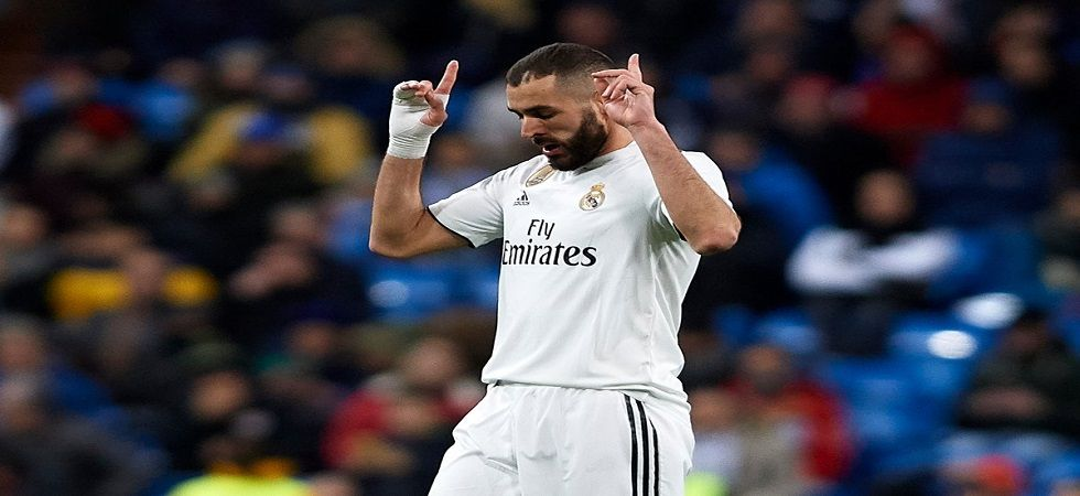 Karim Benzema has scored six goals in four games for Real Madrid as they closed the gap with Atletico Madrid and Barcelona. (Image credit: Twitter)