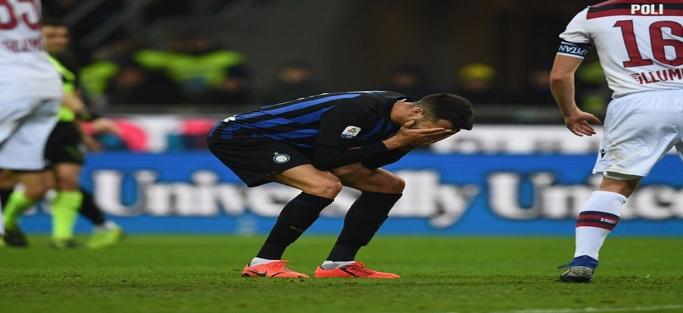Inter Milan lost the match to Bologna and their third-placed cushion was reduced when AC Milan where held 1-1. (Image credit: Twitter)