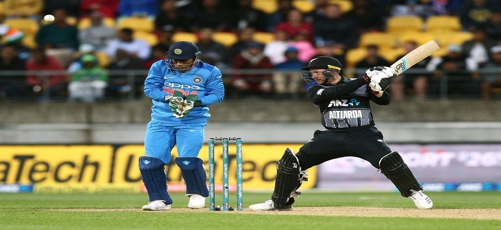 New Zealand notched up 219/6 in the Wellington ODI, the joint-highest by any team against India in T20Is. (Image credit: ICC Twitter)