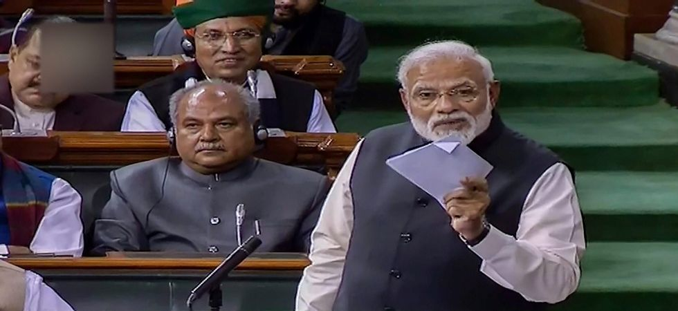 Prime Minister Narendra Modi addresses the Lok Sabha during the Budget Session of Parliament (Photo Source: PTI)