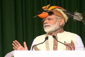 Prime Minister Narendra Modi inaugurated and laid foundation stones of projects in Arunachal Pradesh worth over Rs 4,000 crore. (ANI/Twitter)