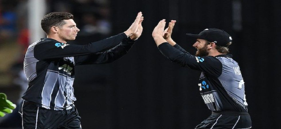 Mitchell Santner and the New Zealand bowlers struck at regular intervals as they won the Hamilton match by four runs to win the three-match series 2-1. (Image credit: Twitter)
