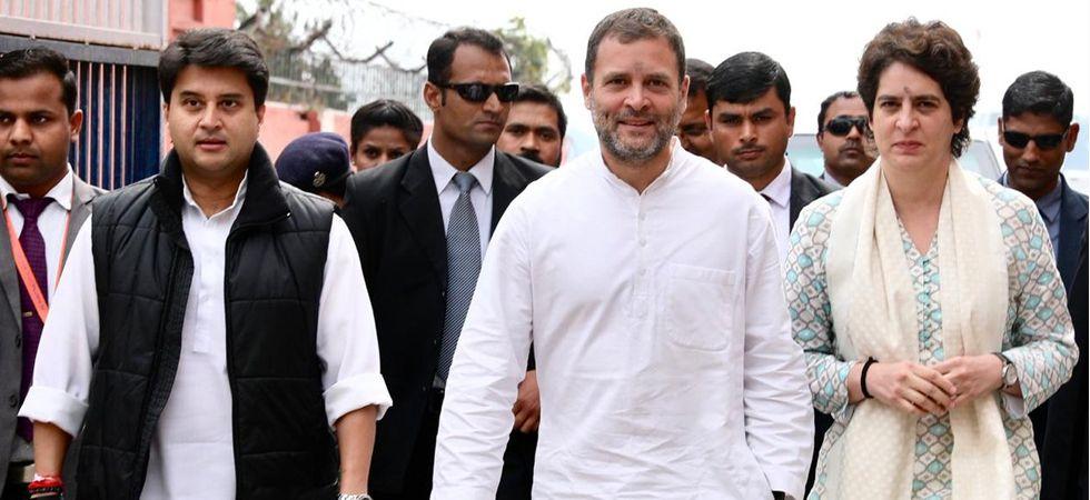 Priyanka Gandhi along with Congress chief Rahul Gandhi and Jyotiraditya Scindia