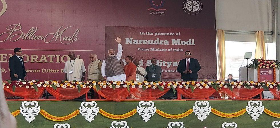 PM Narendra Modi at the Akshaya Patra event in Vrindavan. (Photo: Twitter/Akshaya Patra Official)