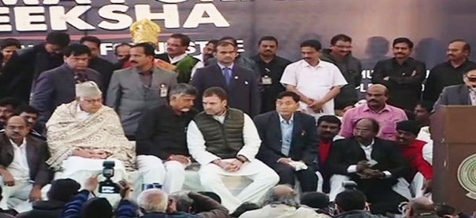 The Telegu Desam Party (TDP) chief and his ministerial colleagues began the day by visiting the Rajghat. (Photo: ANI)