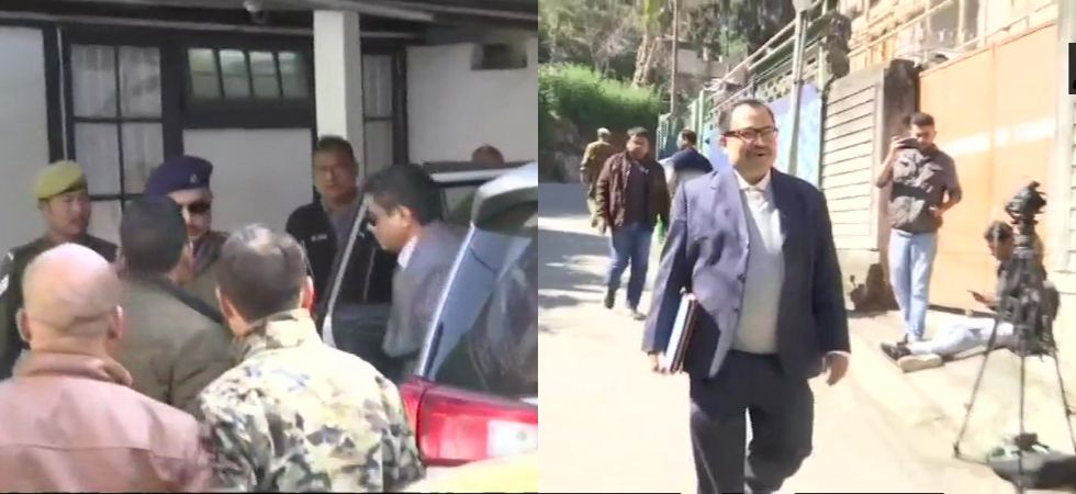 Rajeev Kumar and Kunal Ghosh reached the CBI office in Shillong on Monday. (Photos: ANI)