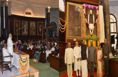 President Kovind unveils former PM  Vajpayee's portrait at Parliament's Central Hall