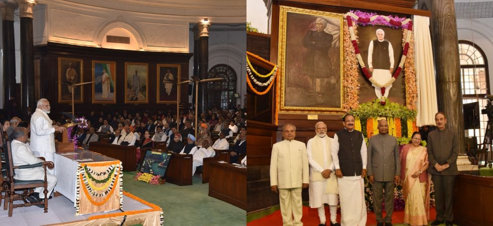 President Ram Nath Kovind unveils former Prime Minister Atal Bihari Vajpayee's portrait at Parliament's Central Hall