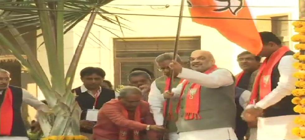 The campaign aims to plant the BJP flag at five crore homes of its workers across the country (Photo: Twitter@ANI)