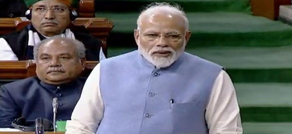 PM Modi also took potshots at Congress president Rahul Gandhi over hug and wink. (Image Credit: ANI)