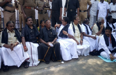 Puducherry Political Drama: CM stages protest outside Raj Bhawan against Kiran Bedi
