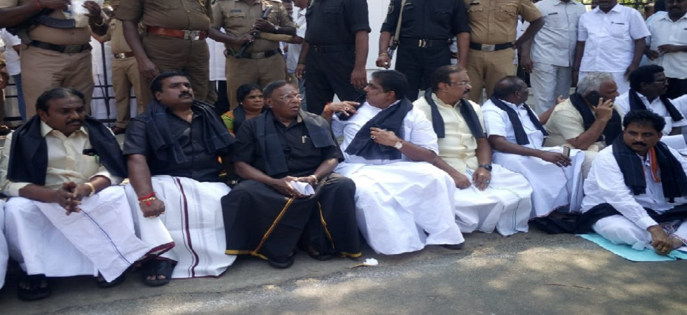 Puducherry CM V Narayanasamy protests outside Raj Bhawan recall Kiran Bedi.