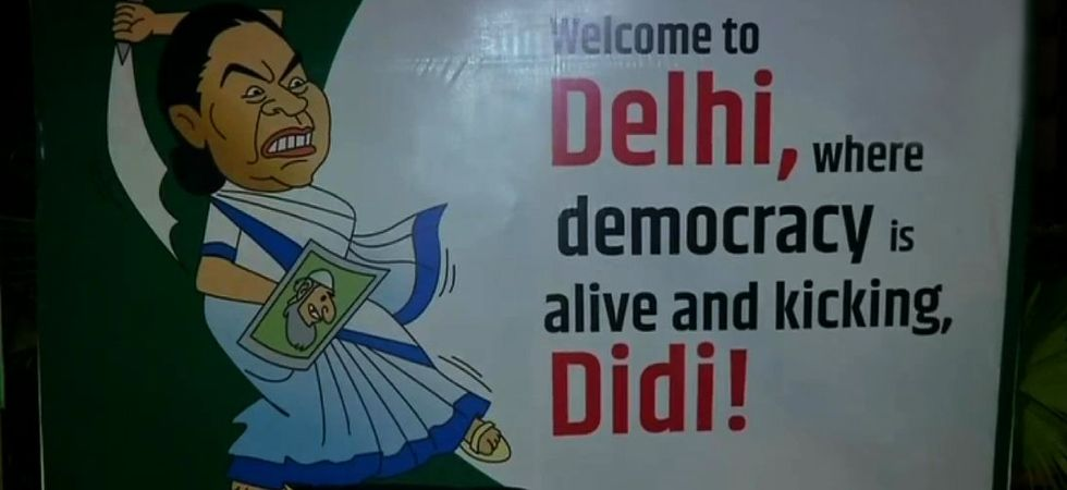 Ahead of Opposition's mega Jantar Mantar rally, poster war plays out on Delhi streets. (Photo: ANI)
