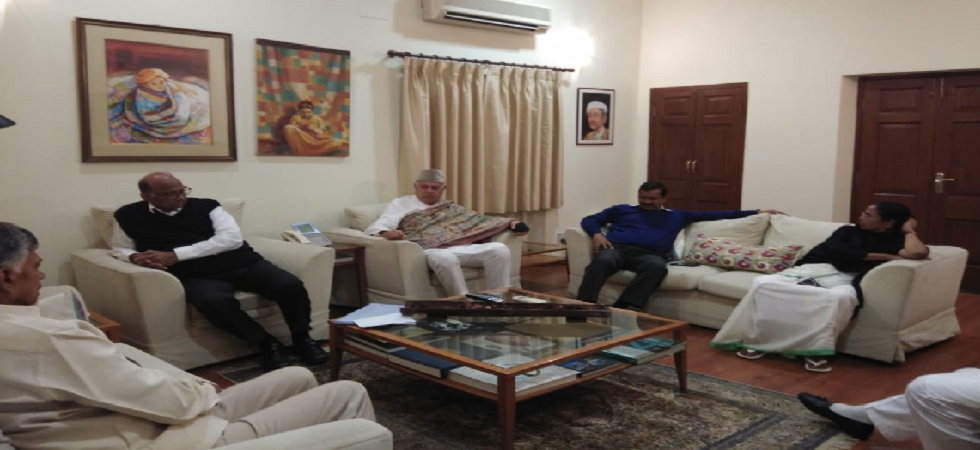 Andhra Pradesh CM N Chandrababu Naidu, West Bengal CM Mamata Banerjee, Delhi CM Arvind Kejriwal at NCP chief Sharad Pawar's residence.