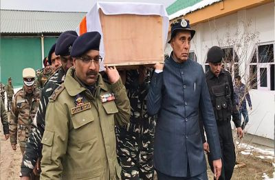 Home Minister Rajnath Singh helps carry coffin of jawan killed in Pulwama terror attack