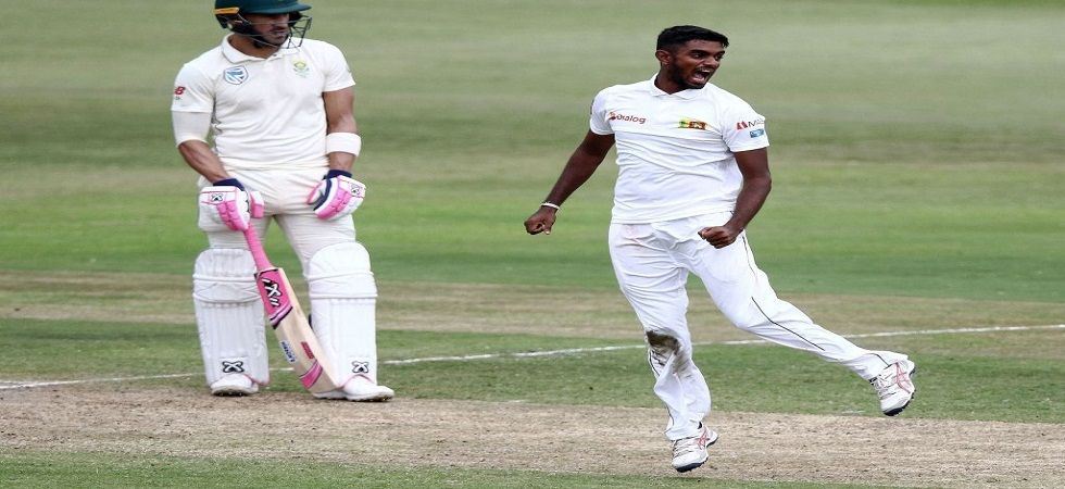 Lasith Embuldeniya became the fourth Sri Lankan bowler to take a five-wicket haul on debut. (Image credit: ICC Twitter)