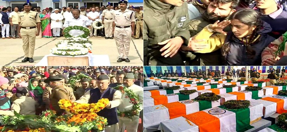 The bodies of the soldiers reached Delhi's Palam air force area in a special Indian Air Force plane on Friday evening. (Photo: ANI)