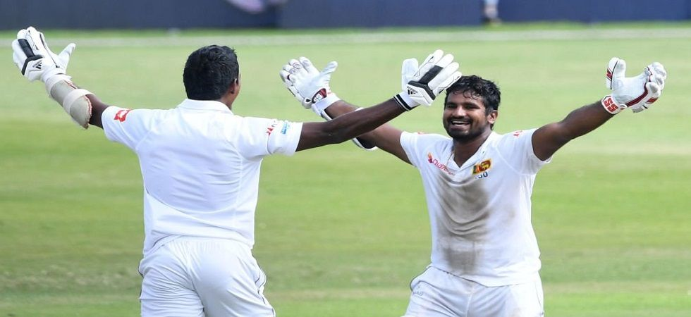 Kusal Perera blasted 153* and shared a partnership of 78 with Vishwa Fernando for the final wicket as Sri Lanka won the Test against South Africa by one wicket. (Image credit: ICC Twitter)