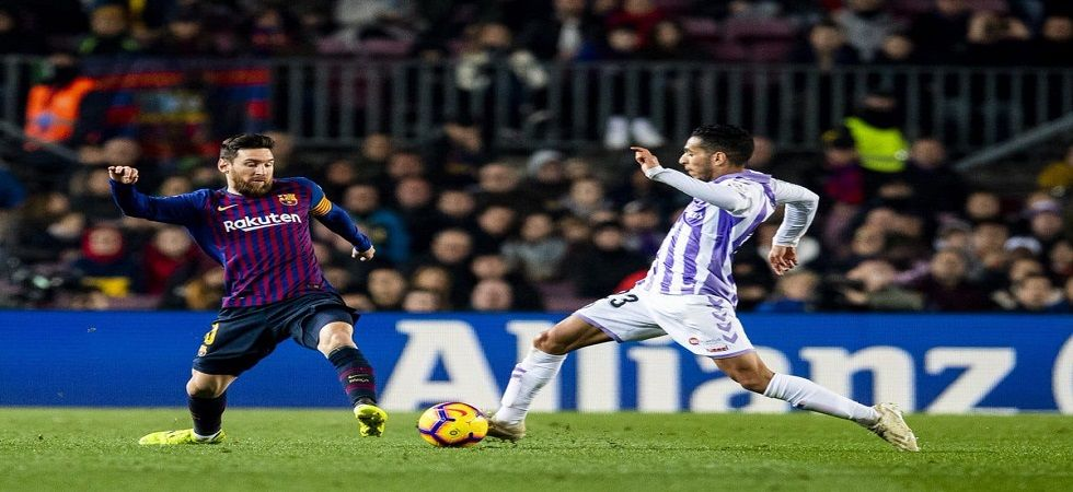Lionel Messi scored a penalty for Barcelona as they stayed on top in the La Liga with a win over Real Valladolid. (Image credit: Twitter)