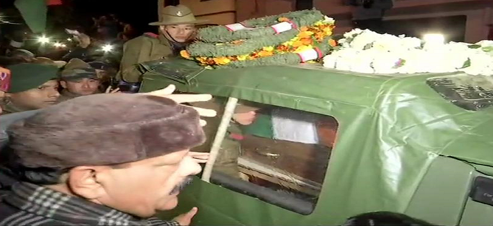 Uttarakhand: Mortal remains of Major VS Dhoundiyal brought to his residence in Dehradun. (ANI/Twitter)