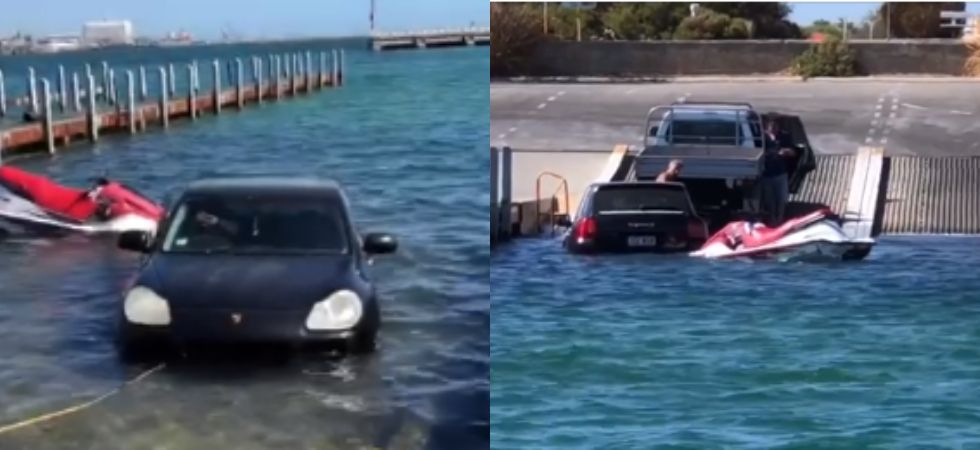 Porsche owner trolled by the netizens after accidentally driving his car into the ocean./ Image: Facebook
