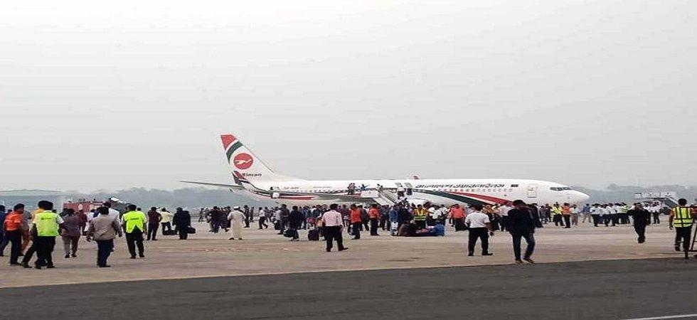 The Biman Bangladesh Airlines plane on the tarmac in Chittagong (Image: Dhaka Tribune)