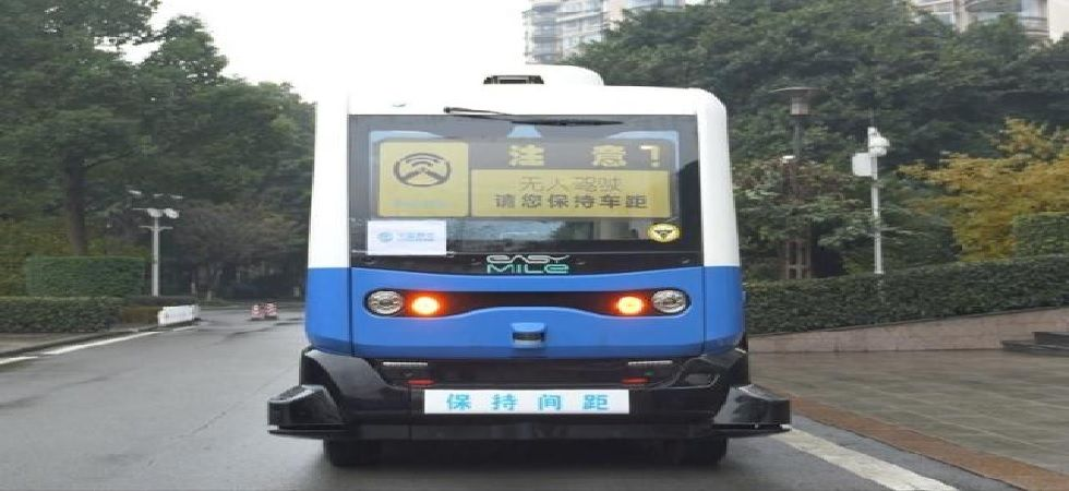 The electric-powered 12-seater has a designed maximum speed of 20 km per hour (Photo: Twitter@ChinaEUMission)