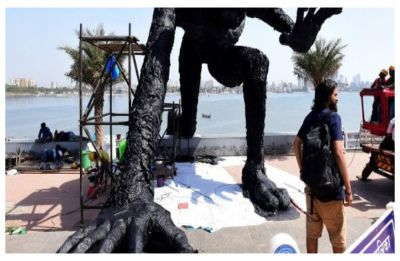 Plastic Monster 'It Never Goes Away' installed at Mumbai's Bandra Worli Sealink Promenade to raise awareness about Plastic disposal