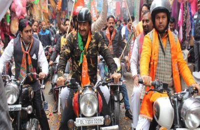 Manoj Tiwari draws flak for donning military fatigues at BJP's 'Vijay Sankalp' bike rally