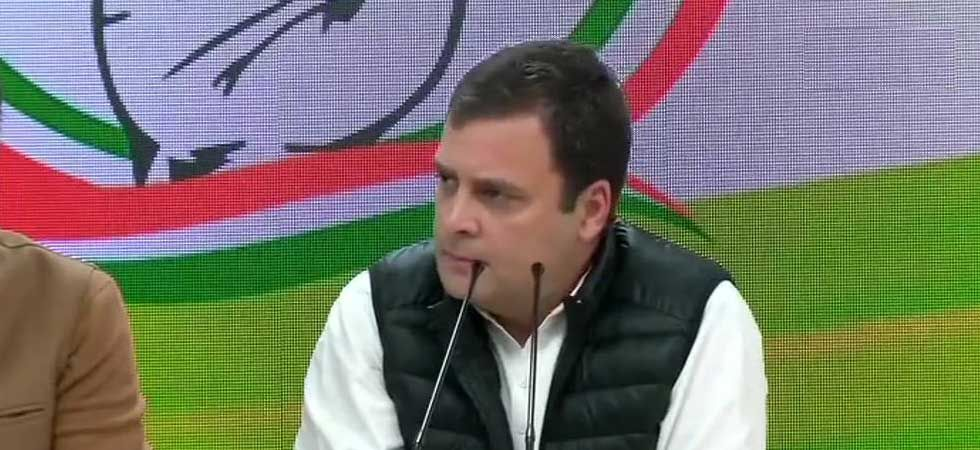 Congress president Rahul Gandhi during a press conference in Delhi on Thursday. (Photo ANI)
