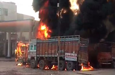 Watch: Truck catches fire at petrol pump in Kanpur, several other vehicles gutted