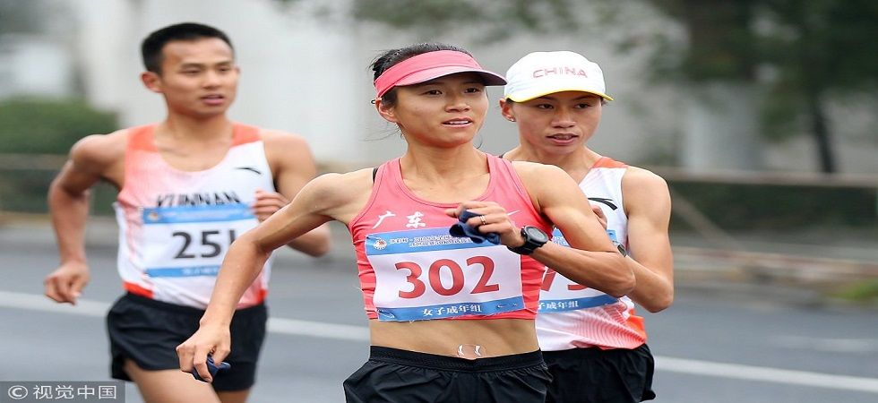 Liu Hong registers a new world record in the 50km walk (Image Credit: Twitter)