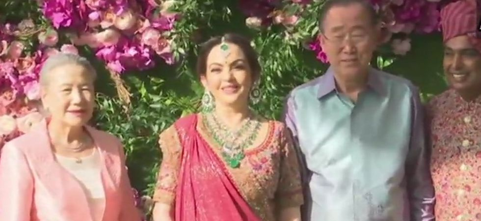 Former UN secretary general Ban Ki-Moon and his wife arrive for the wedding./ Image: ANI