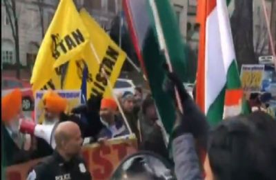 Pro-Khalistan outfit clash with UK-based Kashmiris outside Indian mission in London