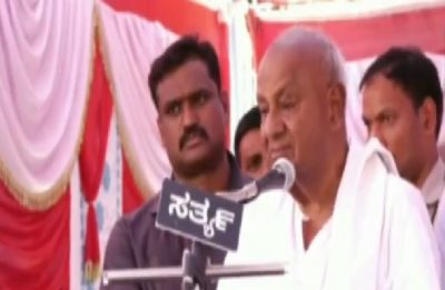 JDS chief HD Deve Gowda weeps while announcing grandson Revanna's name for Lok Sabha polls