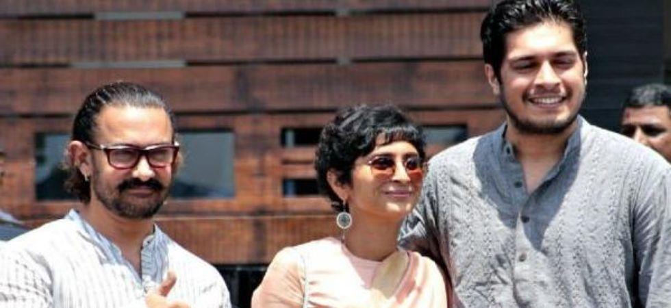 Aamir Khan with wife Kiran Rao and son Junaid. (File Photo)