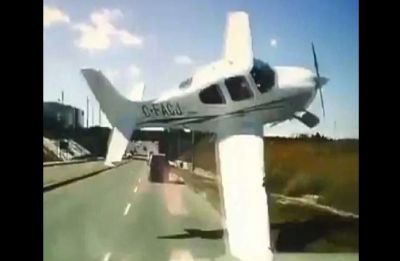 Watch VIDEO: Plane narrowly misses truck's front on highway before crashing