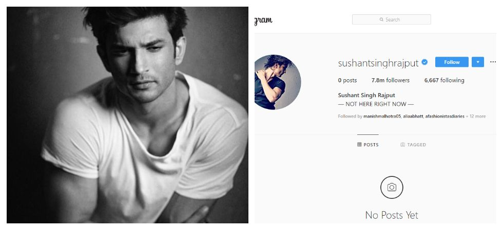Sushant Singh Rajput deletes all Instagram posts (Photo: Twitter)