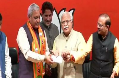 INLD legislator Ranbir Gangwa joins BJP in presence of Haryana CM Manohar Lal Khattar