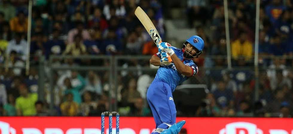 Rishabh Pant in action during the match against Mumbai Indians on Sunday. (Photo: Twitter/@DelhiCapitals)