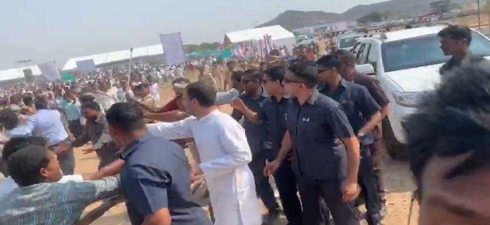 VIDEO: Rahul Gandhi breaks security protocol to meet supporters in Telangana (screen grab)