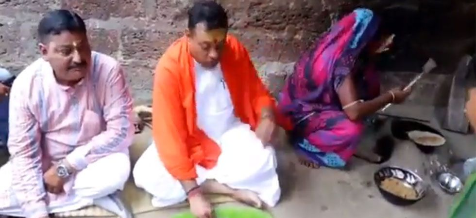 Sambit Patra shared a video of him having food in a traditional banana leaf plate.