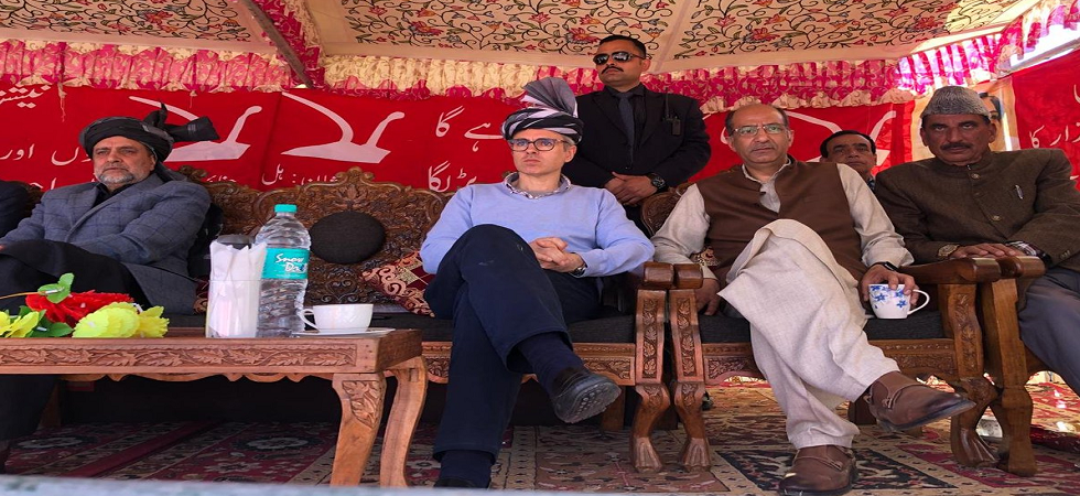 NC vice president Omar Abdullah at an election campaign rally in Bandipore.